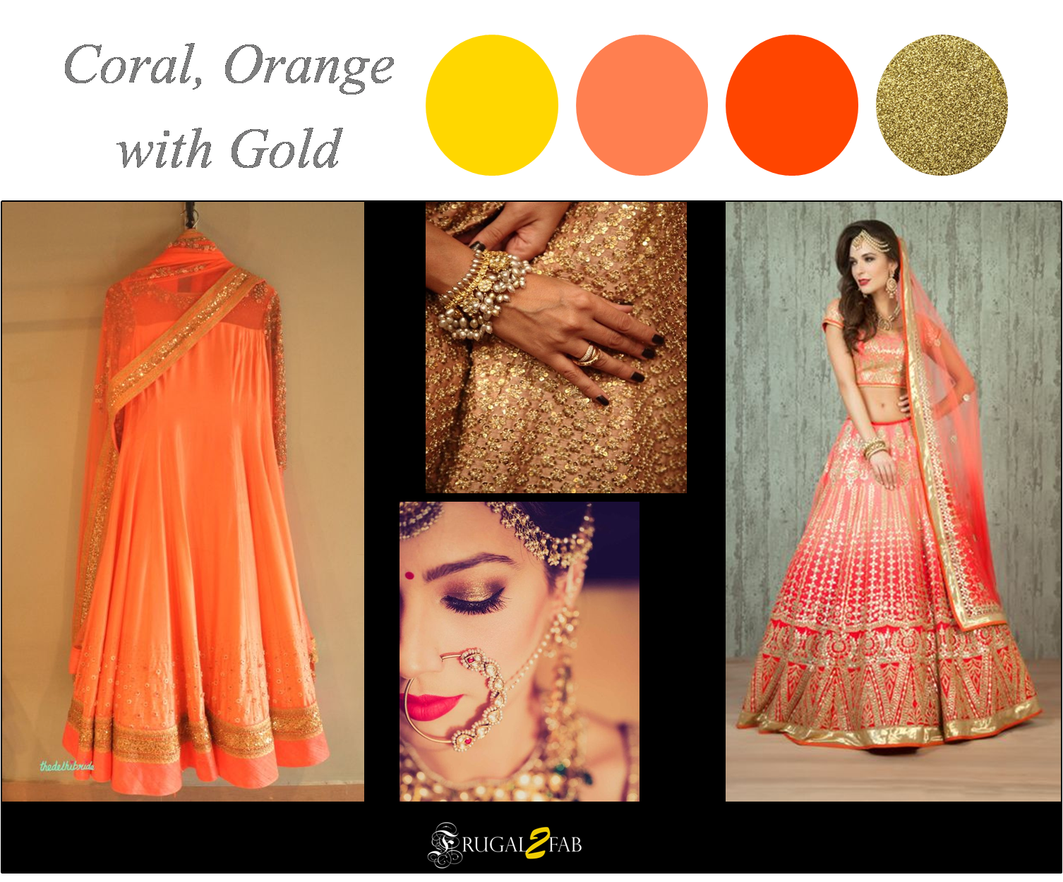 Orange, Coral with Gold