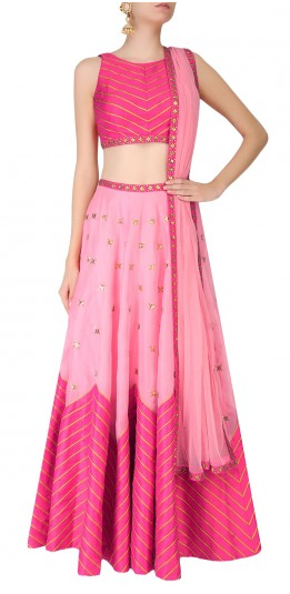 Dark Pink And Pink Two Tone Zigzag Lines And Sequins Embellished Lehenga