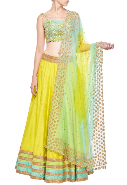Sea green & lime green floral embroidered lehenga