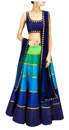 Tones of blue and green sequin embroidered lehenga