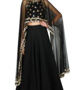 Charcoal Black Gota Patti Lehenga Set