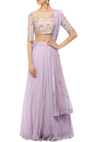 Lavendar gota patti appliqued lehenga set