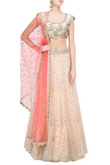 Off White Floral Sequins Embroidered Lehenga Set with Peach Dupatta